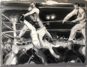 """Boxing study. Oil on paper. 24"""" x 36"""". 2019."""