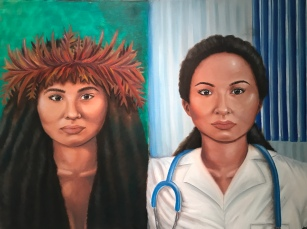 """Polynesian Woman Then Versus Now. Oil on canvas. 30"""" x 40"""". 2018."""