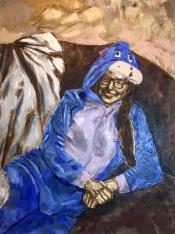 """Eeyore. Oil and acrylic on canvas. 36"""" x 48"""". 2019."""