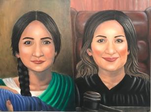 """Mexicana en los 1800s vs Mexicana en la actualidad. Oil on canvas. 30"""" x 40"""". 2018."""