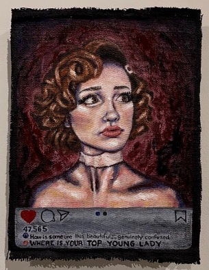 Is this perfect? Oil and acrylic on burlap 2019.