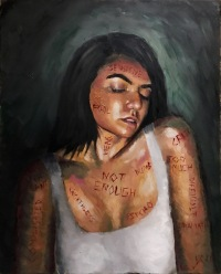"""Words hurt. Oil on canvas. 16"""" x 28"""". 2019"""